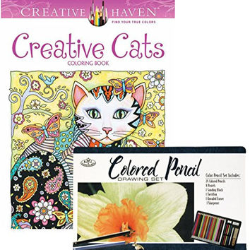 Creative Cats Creative Haven Coloring Book and Royal & Langnickel 36-piece Colored Pencil Art Set: Bundle of Two Items
