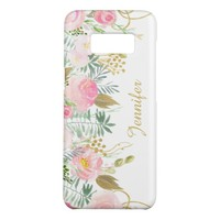 Blush Pink Gold Watercolor Flowers Case-Mate Samsung Galaxy S8 Case