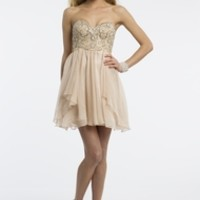 Strapless Chiffon Dress with Beading