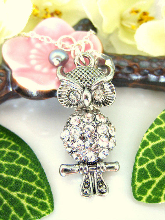 Silver Owl Charm Cubic Zirconia Sterling Silver Necklace