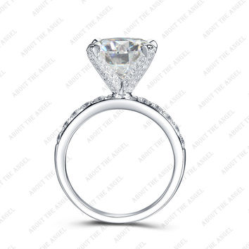 14KW Gold 10.0mm 4.0ct Round Moissanite Solitaire with Accent Stone Ring