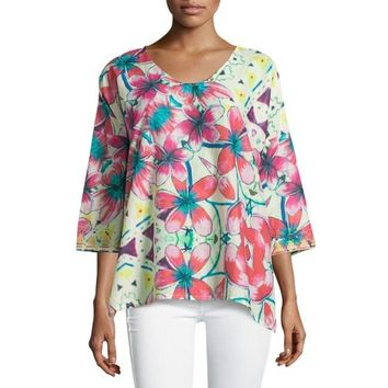 Johnny Was Barra Floral-Print Silk Tunic Small $98 Brand New