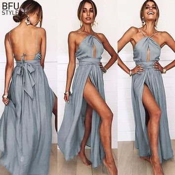 Sexy Maxi Dress Women Summer Backless Long Dress Elegant Halter Lace Up Boho Wedding Party Dresses Beach Vestidos Verano 2018