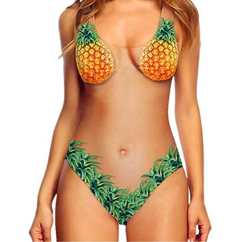 Pineapples Women Swimsuit One Piece Mesh Monokini Halter Print Summer Beach Bathing Suit Beachwear Cute fruit Swimwear Hot