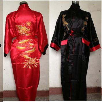 Chinese Style Red-Black Men's Double-Face Reversible Kimono Robe/Gown Embroidery Dragon Sleepwear M L XL XXL 3XL