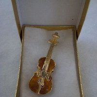 Music Lover! Enamel Gold Violin Broach