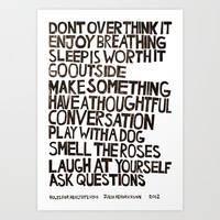 Rules for Healthy Living Art Print by Julia Hendrickson