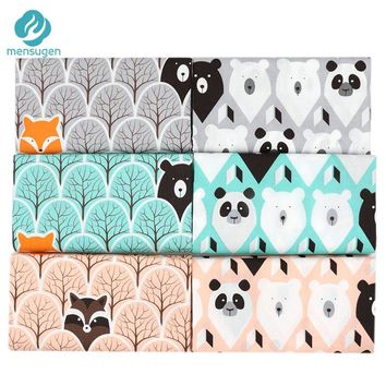 Mensugen Cartoon Animal 100% Cotton Fabric Meters for Baby Bedding Sheet Sewing Crib Bumper Cloth Tissue Telas to Pacthwork