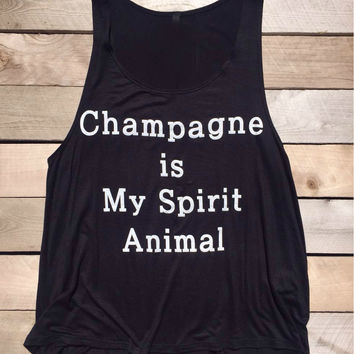 Champagne Is My Spirit Animal Black Tank Top