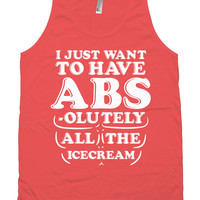 Funny Gym Tank I Just Want To Have Abs-olutely All The Ice Cream Clothing American Apparel Tank Fitness Wear Exercise Tops Gym Outfits WT-77