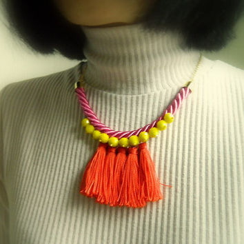 Rope necklace, Orange fringe necklace,Statement Necklace,spring trend, tassel,boho,eco friendly,Nautical Necklace,Chunky bib necklace