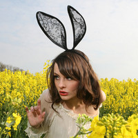Black Lace Bunny Rabbit Ears Headband