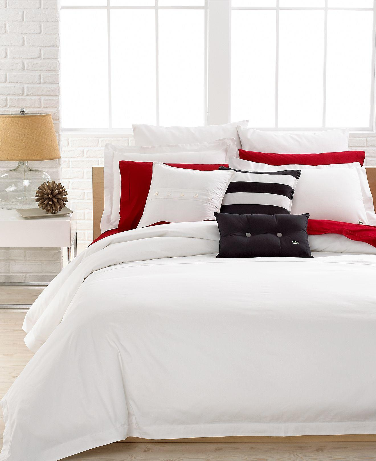 Lacoste Bedding Solid White Brushed From Macys