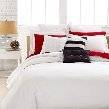 Lacoste Bedding, Solid White Brushed Twill Full/Queen Comforter Set - Bedding Collections - Bed & Bath - Macy's