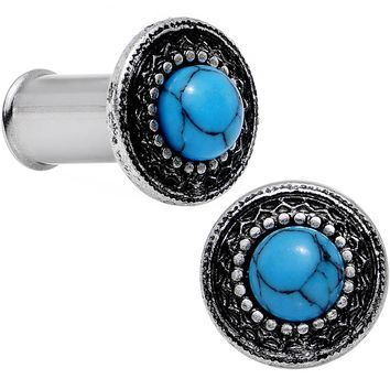 4 Gauge Steel Synthetic Turquoise Finely Framed Double Flare Plug Set