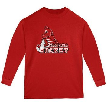 ESBGQ9 Fast Hockey Player Country Canada Youth Long Sleeve T Shirt