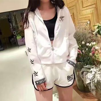 boy london women fashion casual letter eagle print vest shorts long sleeve zip cardigan hooded coat sun protection set three piece sportswear