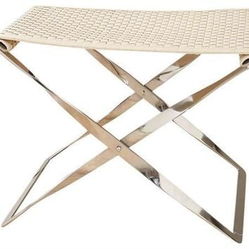 Global Views Woven Leather Folding Bench-Ivory