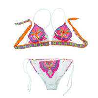 Neon Paisley Halter Top & Side-tie Bottom
