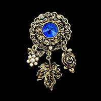 Victorian Royal Rhinestone Dangle Brooch with Pearls Flower Leaf and Rose Charms in Antiqued Gold Tone Signed