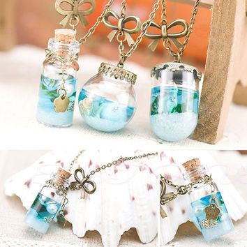 Fashion Sea Ocean Glass Bottle Pendant Mermaid Tears Shells Star Vial Necklace