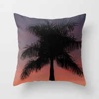 Palm Tree Pillow Case - Nature Décor, Sunset Pillow Cover, Orange, Dusk, Tropical Home Décor, Photo Pillow, Summer Inspired, 16x16 - 18x18