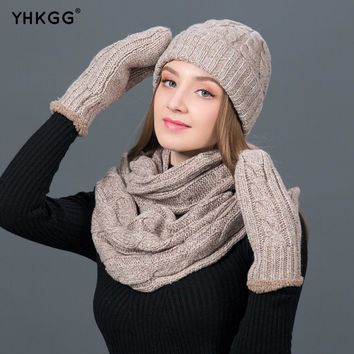 YHKGG Set Winter Hats Scarf Gloves For Women Thick Cotton Winter warm knit  Accessories Set Female Beanie Scarf Gloves