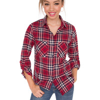 Richie Plaid Top - Burgundy