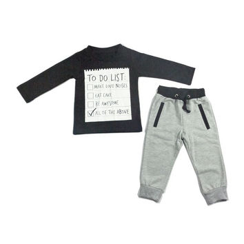 Baby Boys' 2-Piece Sports Wear Set To Do List Printed Long Sleeves T-Shirt And Pants Unisex Cotton Black Playwear Outfit Set = 1930402436