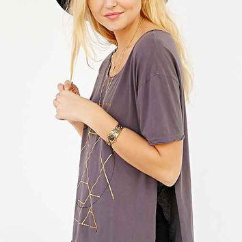 Knot Sisters Foiled Tee Shirt- Dark Grey