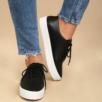 Avery Black Perforated Flatform Sneakers