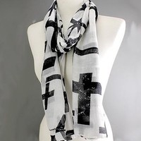 Scarves by Justbella's Cross Black & White Long Scarf