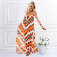 2017 Elegant Summer Women Adjustable Spaghetti Strap Casual Striped Long Maxi Dress Sexy Chiffon Beachwear Vestidos