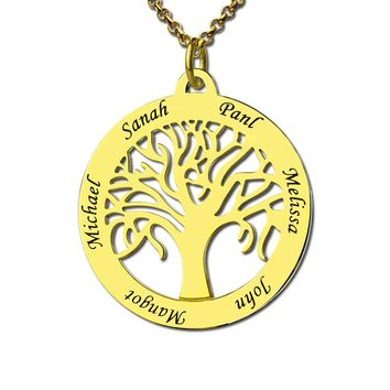 Gold Color Family Tree Necklace Engraved Circle Name Necklace Personalized Mum Mom Necklace Gift for Mother Family Jewelry