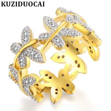 Kuziduocai New Fashion Jewelry Punk Stainless Steel Zircon Flying Butterfly Wedding Rings For Women Gifts Anillo Anel Bague R-65