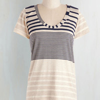 ModCloth Nautical Mid-length Short Sleeves Leisure, Why Not? Top