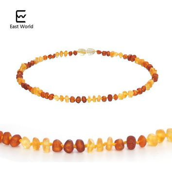 EAST WORLD 100% Baltic Amber Necklaces for Baby Raw Baroque Handmade Natural Amber Beads