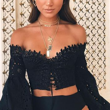 Breaking It Down Lace Long Bell Sleeve Off The Shoulder Lace Up Crop Top Blouse - 2 Colors Available