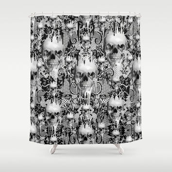 Victorian gothic lace skull pattern Shower Curtain by Kristy Patterson Design