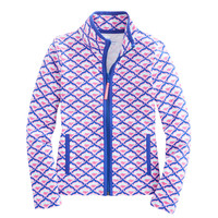 Girls Whale Tail Fish Scale Printed Full-Zip
