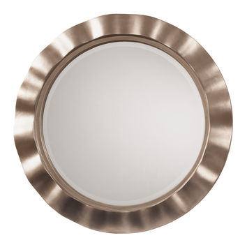 Office Star Cosmos Beveled Wall Mirror with Brushed Silver Round Wavy Frame [GC0511]
