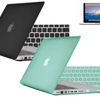 Rubberized Matte Black & Ocean Green Hard Case Cover for Macbook PRO 13 A1278