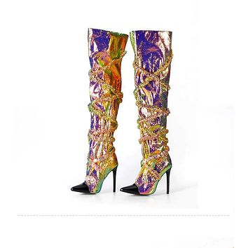 WILLA Colorful Foil Knee High Boots