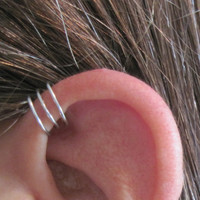 "No Piercing ""Triple Loops"" Helix Cuff Ear Cuff Handmade 1 Cuff Silver Tone or 17 Color Choices"
