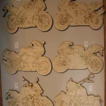Motorcycle Wood Cutouts, Laser Cut, Unfinished Wood, Home Decor, Motorcycle Wall Art, Biker Gift, Wreath Accent, Ready  to Paint
