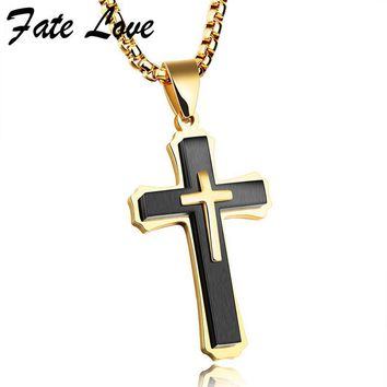Fate Love Vintage Cross Men Necklaces & Pendants Stainless Steel Jewelry Religion Party Gift 55CM Chain Necklace Mens Jewellery