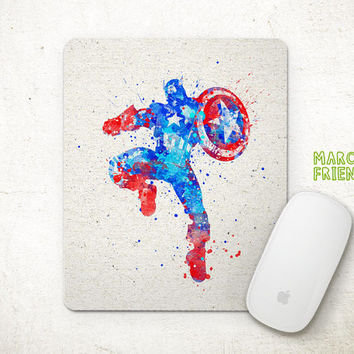 Captain America Mouse Pad, Watercolor Art, Avergers Mousepad, Office Deco, Holiday Gift, Art Print, Desk Decor, Superhero Accessories