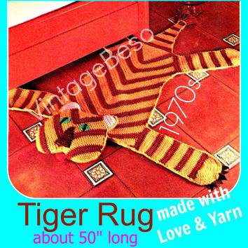 Crochet PATTERN Vintage TIGER Rug 1970s Wild Animal Crochet Pattern Bohemian Home Decor Childs Bedroom Rug  Instant Download PDF