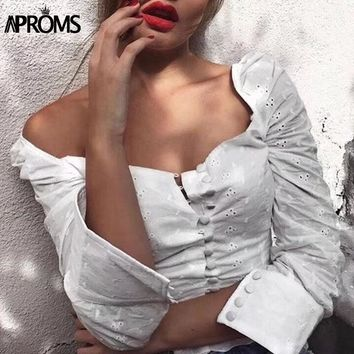 Aproms Sexy Square Neck Long Sleeve Lace Crochet Blouse Shirt Women Button Down White Crop Tops Summer High Street Blusas