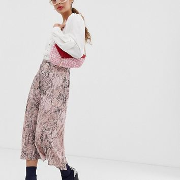 New Look midi skirt in snake print at asos.com